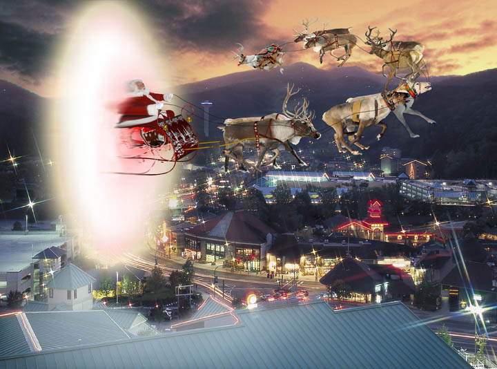 Santa Arrives Over Gatlinburg, Tn., for Celebrate Santa 2009